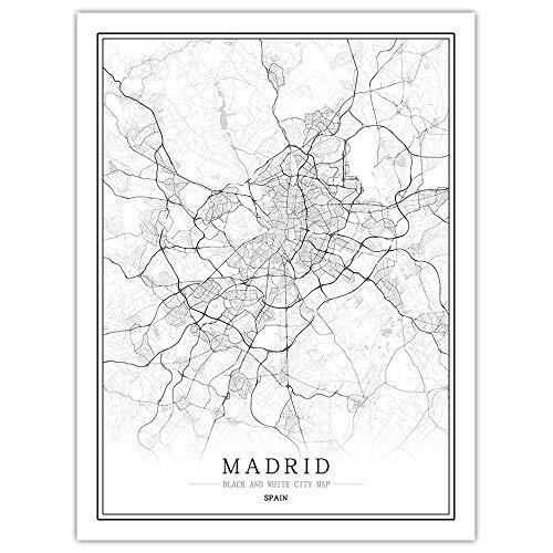 SKLHSIL Leinwand Bild,Moderne Wandbild Kunst Spanien Madrid Stadtkarte Einfache Schwarz Weiß Minimalistische Poster Malerei Büro Leben Haus Schlafzimmer Nordischen Raum Dekoration 30X40