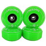 FREEDARE Skateboard Wheels 52mm and Bearings, Spacers Installed 90A Wheels(Green,Pack of 4)