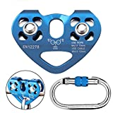 Youngneer Climbing Zip Line Pulley 30KN Double Tandem Speed Dual Trolley with 25kN Carabiner for 1/4 5/16 3/8 1/2 Cable for Zipline Climbing Rescue Pulley