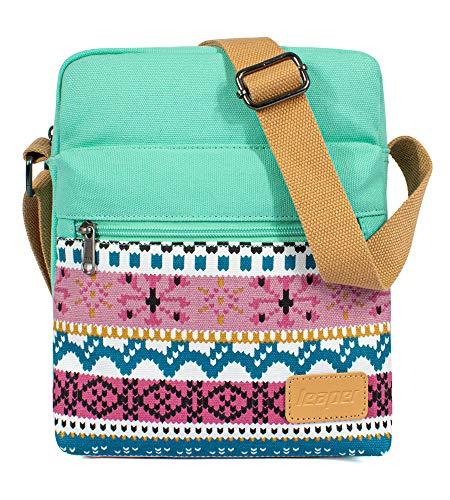Leaper Canvas Organizer Messenger Bag Crossbody Purse Set Water Blue 8864-2