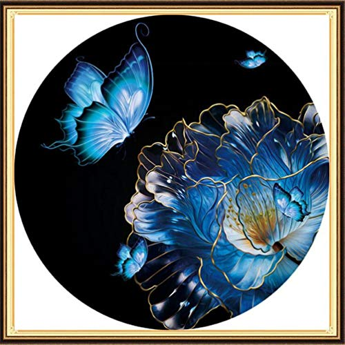 KAMIERFA Kits de Broderie au Point de Croix Fils de Couleur Kit Canevas Complet avec Fils Fait à la Main Travaux d'Aiguille en Motif 50x50cm Papillons et Fleurs