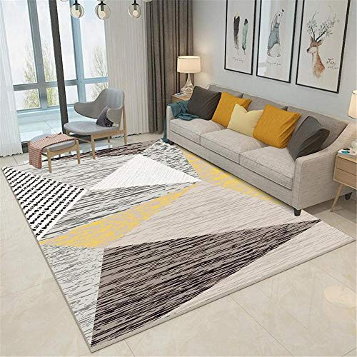La Alfombra alfombras para niños Antideslizante Alfombra de diseño geométrico Amarillo Gris Negro Fácil de Limpiar alfombras de habitacion Juvenil Adornos habitacion Juvenil 140X200CM