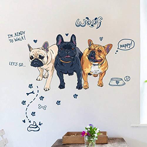 MMLFY Muursticker Grappige drie honden lopen naar een poep kruk muur stickers home decoratie slaapkamer woonkamer diy verwijderbare dierlijke stickers