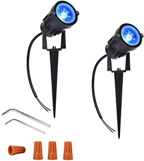 Onerbuy 12V Low Voltage LED Landscape Lights Waterproof Outdoor Walls Trees Flags Spotlights 5W COB Garden Yard Path Lawn Light with Spike Stand, Pack of 2 (Blue)