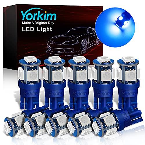 Yorkim 194 LED Bulbs Blue Interior T10 LED Bulbs Blue 168 LED Bulb Blue for Car Dome Light Map Light Door Light Dashboard Light Courtesy Light License Plate Light W5W 2825 bulb, Pack of 10