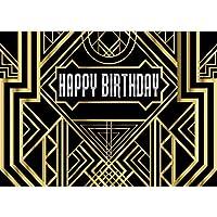 GooEoo 8 x 6フィートグレートギャツビー写真背景誕生日大人子供パーティー黒とゴールドゴールデンバナー写真背景スタジオの小道具11053