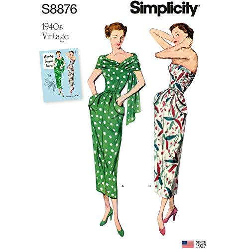 Simplicity Schnittmuster S8876 Damenkleider und Stola aus Papier, Weiß, verschiedene Farben