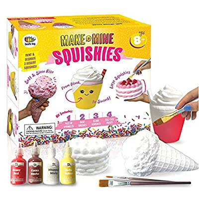 Arts and Crafts for Girls. DIY Dessert Paint Your Own Squishies Kit! Gifts for Craft Lovers ages 4 6 7 8 9 10 Top Christmas 2019 Toys. Box Includes Large Slow Rise Squishies, and Fabric Paint Colors