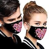 2 Piezas 𝐌𝐚𝐬𝐜𝐚𝐫𝐢𝐥𝐥𝐚𝐬 h_omologadas Negro Tela Lavables Reutilizables para Adultos para día de San Valentín ,diseño de Amor