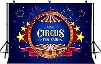 HD 7x5ft Cirqueテーマの背景ダークブルーの夜空の背景Cirque遊園地の写真の背景LYZY0663のためのゴールデンスター