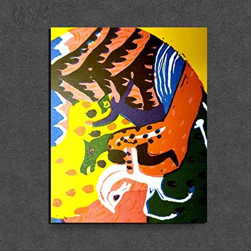KWzEQ Nordische Plakat Leinwand Wohnzimmer Hauptdekoration Moderne Wandkunst Ölgemälde Poster Bild,Rahmenlose Malerei,40x50cm