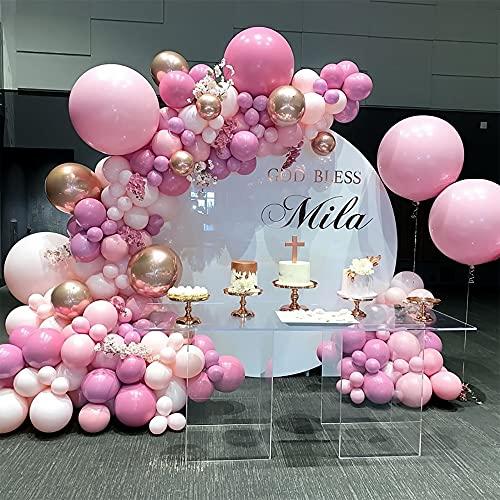 AcnA Fiesta Globos de Cumpleaños Decoracion,Globos Guirnalda de Fiesta Decoración,Globos de Confeti Globos de Oro Rosa 4D,Para Cumpleaños Baby Show,niñas, mujeres