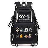 TPS SCP Foundation Women Back Pack Cartoon Bookbag Canvas School Bags Travel Bagpack USB Laptop Backpack (13)