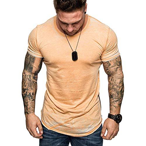 YANFANG Blusa Superior De Manga Corta Ajustada con Cremallera Informal Verano para Hombre Moda,Camiseta Algodon,Camisetas Hombre,2021 Camisas Y Blusas,Naranja,XL