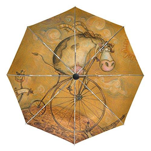 TIZORAX Vintage Koe Op De Fiets Winddicht Opvouwbare Regen Reisluifel Paraplu Auto Open Sluitknop