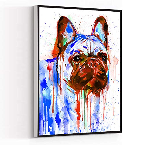 SMALL ROOM DECOR,kitchen decorations wall,home decore,Fawn French Bulldog watercolor painting,8''x12'' Framed Modern Canvas Wall Art,