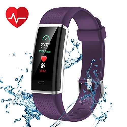 CHEREEKI Pulsera Actividad, Pulsera de Actividad Inteligente Frecuencia Cardíaca Monitor, IP68 Impermeable Pantalla Color, Monitor de Sueño, 14 Modos de Deporte, Bluetooth Pulsera Inteligente(Purple)