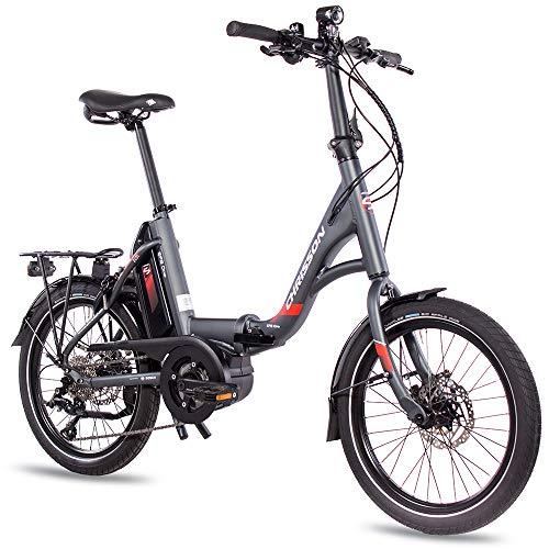 CHRISSON 20 Zoll E-Bike Klapprad EFB grau - E-Faltrad mit Active Line Mittelmotor 250 W 40 Nm und 9 Gang Shimano Sora Schaltung - Pedelec Faltrad für Damen und Herren, praktisches Elektro Klapprad