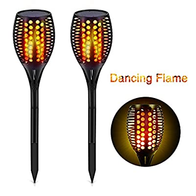 Solar Pathway Path Lights Outdoor, Maxchange 96 LEDs Waterproof Landscape Lighting Led Solar Torch Lights for Pathway Yard Walkway Patio Garden Black [Dancing Flame][Auto On/Off]