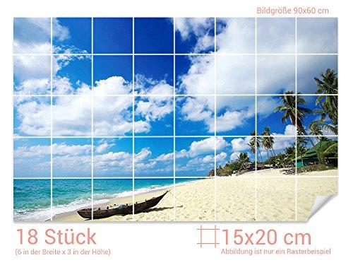GRAZDesign Fliesen überkleben Strand - Klebefliesen Urlaub - Fliesenaufkleber Bad Meeresblick - Fliesenaufkleber Badfliesen/Fliesenmaß: 15x20cm (BxH) / 761007_15x20_60