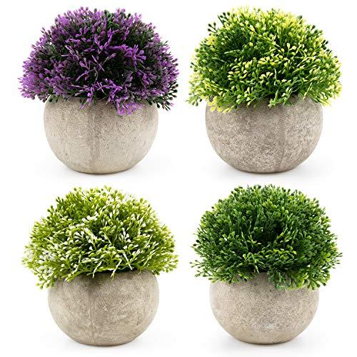 Tebery kunstgras ronde planten set van 4 met grijze pot, 12 x 12 cm kleine binnen en buiten nep planten, plastic planten voor huis bureau badkamer keuken decoratieve, prachtige nieuw huis cadeau