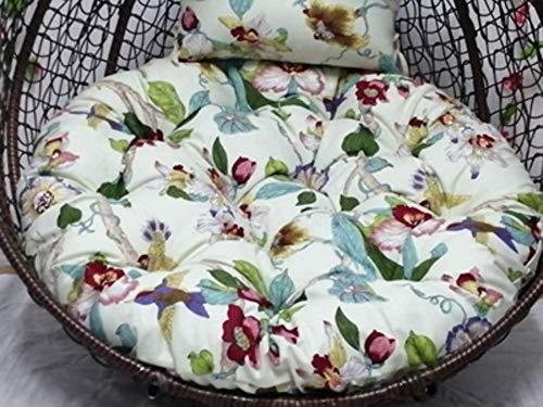 YXFYXF Printed flower pillow.rocking chair Wicker Hanging Egg Rattan Chair hammock cushion.balcony patio garden-b 43x43inch (Color : 43x43inch-m)