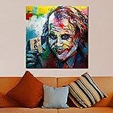 yiyiyaya Leinwand Gemälde Graffiti Clown Ölgemälde Leinwand Gemälde Für Wohnzimmer Wand Decorativees-24x24inch