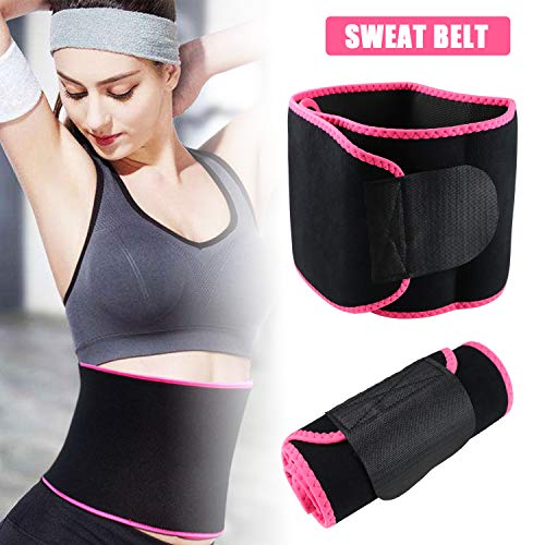 Waist Trimmer Belt for Women & Men, Weight Loss Wrap, Stomach Fat Burner, Low Back and Lumbar Support with Sauna Suit Effect, Best Abdominal Trainer (Rose Red)