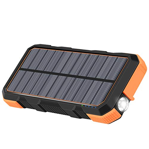 A ADDTOP Caricabatterie Solare 26800mAh Batteria Esterna Portatile PD 18W Power Bank con USB C Port e Torcia LED per Smartphones, Tablets, MacBook