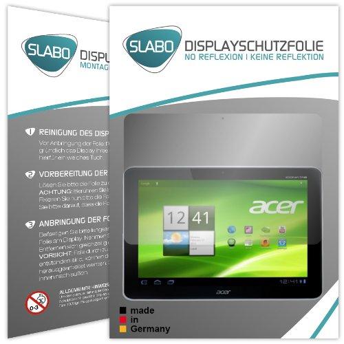 Slabo 2 x Displayschutzfolie kompatibel mit Acer Iconia Tab A210 / 211 Displayschutz Schutzfolie Folie No Reflexion | Keine Reflektion MATT