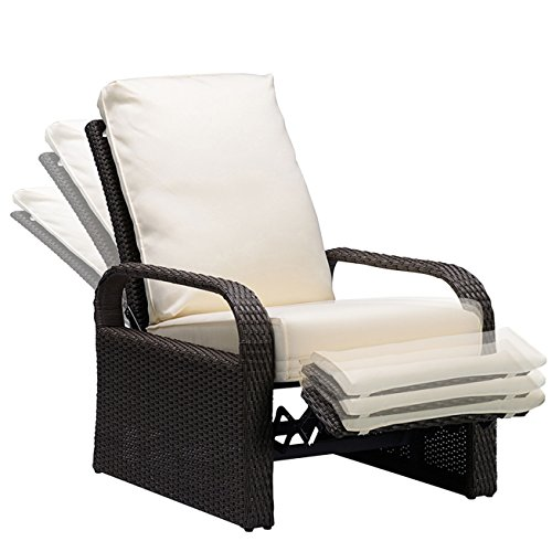BABYLON Outdoor Recliner Wicker Patio Adjustable Recliner Chair with 5.11' Cushions and Ottoman,Rust-Resistant Aluminum Frame,All-Weather Resin Rattan, Grey&Beige