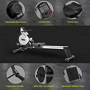 Rowing Machine with 16 Levels Magnetic Resistance, Neezee Super Silent Rowing Machine with Aluminum Slide Rail, LCD Monitor, 2021 Model, Fit for Home Gym, Strength Training