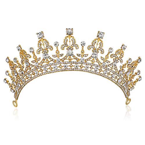 ArtiDeco Braut Tiara Kristall Braut Krone Hochzeit Party Braut Haare Accessoires Mädchen Abschlussball Tiara Blinkende Tanzball Krone (Gold)