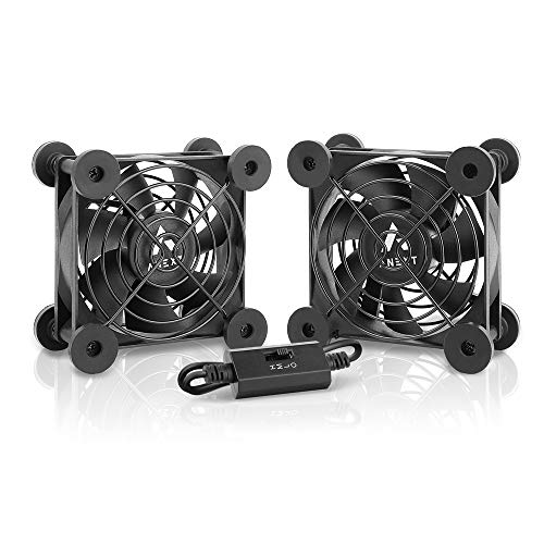 ANEXT Quiet Dual 80mm USB Fan, for Receiver DVR Playstation Xbox Computer Cabinet Cooling, ANEXT Series
