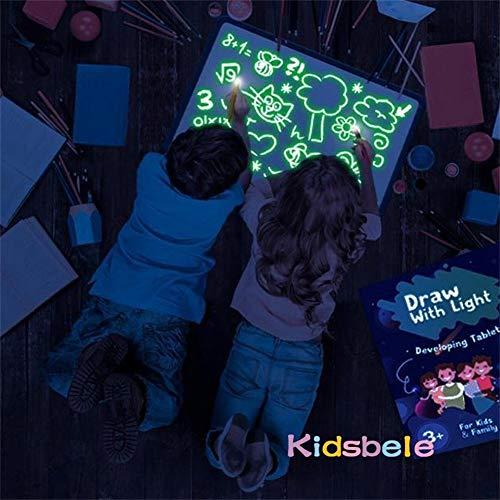 Dibujar Con Luz Juguetes,Tablero Luminoso Pizarra Magica for Niños Fluorescente De Graffiti Brillante Mesa Trabajo 3D Gran Tamaño Pizarra Mágica Infantil Juguetes Educativos De Bricolaje (Size : A5)