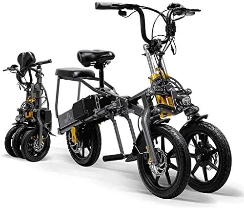 QQJL Home Bicicleta Eléctrica, Eléctrica Triciclo Plegable para Adultos Tres Ruedas, Bicicletas De Montaña Eléctrica, Scooter hasta 30 Km/H De La Batería De Litio Doble, Tres Modos De Velocidad
