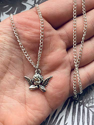 Angel Silver Small Tiny Charm Necklace Metal Harp Tibetan Wings baby Girl Wing Gold Chain Pendant Charm Y2K Kawaii Cute Japanese Art Hoe Culture Harajuku Vintage Retro KPOP