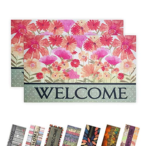 """EZHOMEE Indoor Outdoor Rubber Welcome Door Mat(29.5""""x17.7""""), Heavy Duty and Non-Slip, Entry Floor Mats for Front Door, Entrance, Patio, Porch, High Traffic Areas for Dog Paw, Colorful Flower, 2 Pack"""