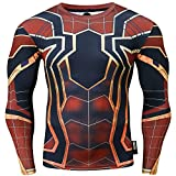 Nessfit Sweat-shirt de compression à manches longues pour homme M Spiderman - Bordeaux