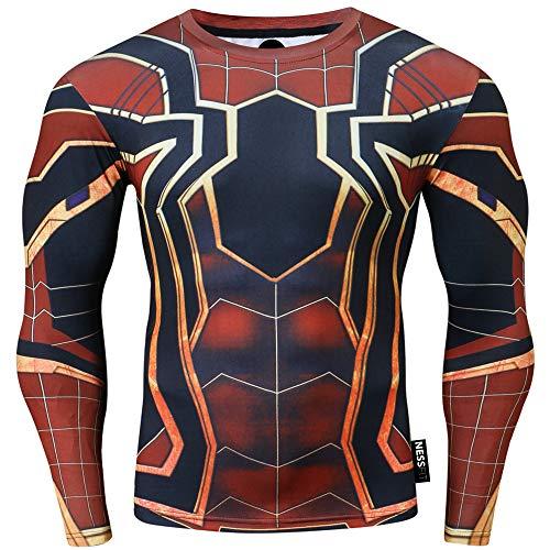 Nessfit - Maglietta termica da uomo a compressione a maniche lunghe, con strato di base per fitness, palestra, corsa, supereroe, Spiderman Borgogna, M
