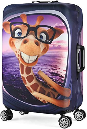 3D Print Design Travel Suitcase Protector Trolley Case Cover 19'-30' Sleeve (S(Fits to 19'-20' Trolley Case), Giraffe(New Version))