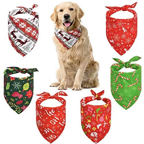 CMTOP 6 Stück Weihnachten Hund Bandanas Haustier Bandanas Bandana für Hund Haustier Dreieck Lätzchen Kariertes Haustier Halstuch Hundehalstuch für kleine mittelgroße große Hunde und Katze