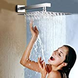 Rainsworth Rainfall Overhead Shower Heads, 10 Inch Rain Shower Head, Square Ultra-Thin Powerful High Pressure Top Spray Bathroom Rainfall Shower Head Chrome