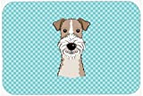 Caroline's Treasures BB1185MP Checkerboard Blue Wire Haired Fox Terrier Mouse Pad, Hot Pad or Trivet, Large, Multicolor