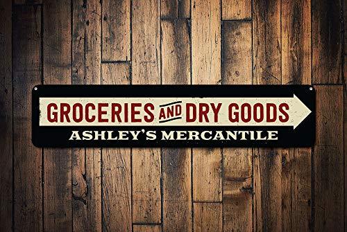 Fhdang Decor provisions & Dry Goods Arrow Sign, personnalisé Mercantile Company Sign, personnalisé General Store détenteur du nom des Signes, Plaque en métal, 10,2 x 45,7 cm