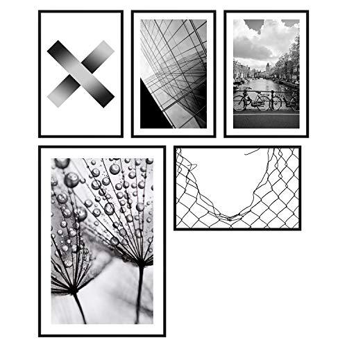 decomonkey   Poster 5er – Set schwarz-weiß Abstrakt Kunstdruck Wandbild Print Bilder Kunstposter Wandposter Posterset Stadt Natur Hochhäuser Wasser Pusteblume Muster