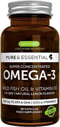 Pure & Essential Huile de Poisson Sauvage Oméga-3 Super Concentrée & Vitamine D3, 410 mg EPA & 250 mg DHA par gélules...