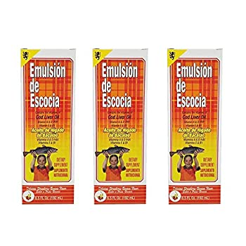 Emulsion de Escocia Cod Liver Oil Dietary Supplement Rich in Vitamins A D E and B1 Strawberry and Banana Flavour 6.5 Fl.Oz / 192 mL Pack of 3