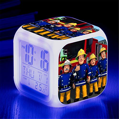GD-Fashion Fireman Sam Clock-Kids Digital Multifunctional Alarm Clock with USB Charger LED Lights Arizona