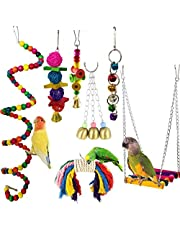 Parrots Toy 7pcs Hanging Swing Chewing Bell Toy for Cage Conures Parakeets Cockatiels Macaws Finches Mynah Budgies and Lovely Birds